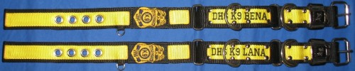 "1.5"" K9 DualGrip Collar: CenterStripe Embroidery on Stripe, Badge"